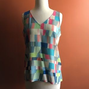 ECRU Sleeveless Geometric Blouse S